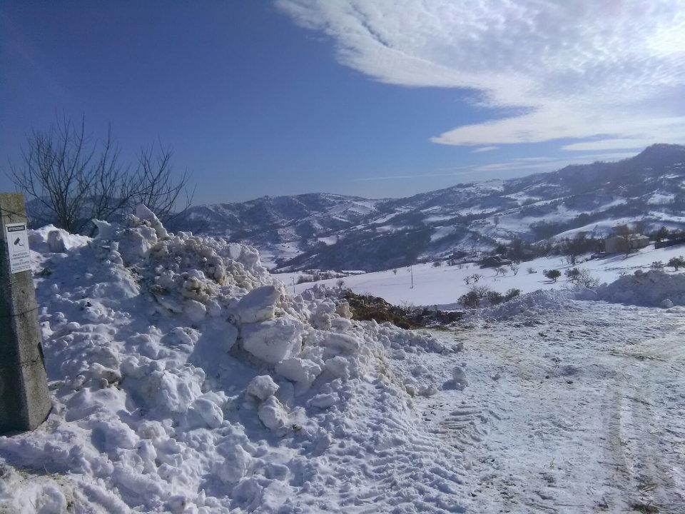 Il lavoro degli allevatori di montagna durante l'emergenza neve. Agnone, il paesaggio di Contrada Sant'Onofrio da casa di Mina Marcovecchio