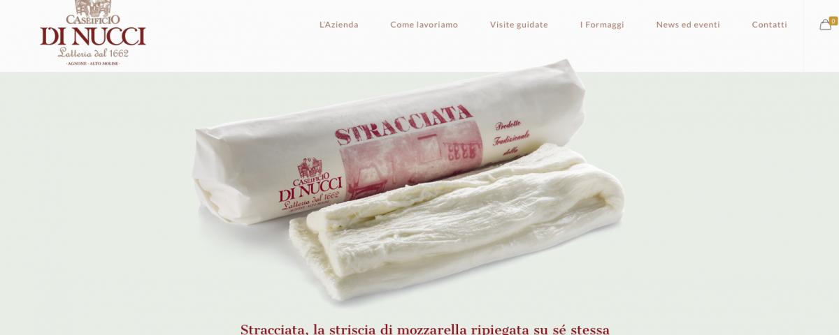 Homepage del nuovo sito web del Caseificio Di Nucci