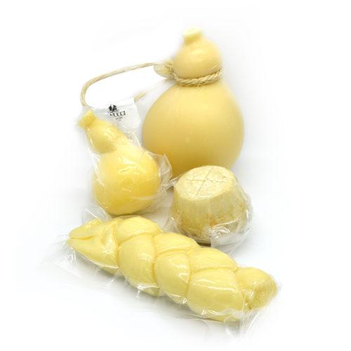 cesto regalo, formaggi di nucci, caciocavallo ,Caciocavallo di Agnone Semistagionato, Manteca, Treccia, Ricotta salata,