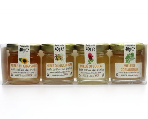 Cofanetto Degustazione di Miele del Molise, Tasting Set of Honey from Molise, Sunflower honey, Sulla honey, Coriander Honey, Millefiori Honey, Miele di Girasole, Miele di Sulla, Miele di Coriandolo, Miele Millefiori